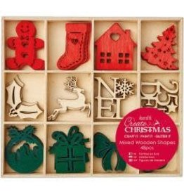 Christmas Wooden Shapes In Tray 48/Pkg Large Christmas Icons