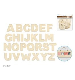 """Wood Letters: 3""""-3.25"""" Laser Cut 2mm Plywood 3-Ply x26 - B) Block"""