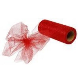 "6""X25yd Glitter Tulle Red"
