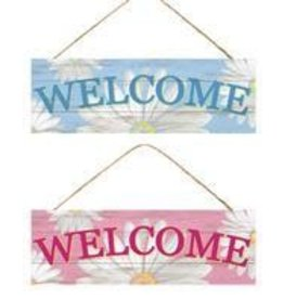 """15""""L X 5""""H Welcome W/Daisies Sign 2 Asst Colors"""
