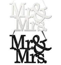 "11.75""L ""Mr & Mrs"" Word Sign 2 Assorted-Black, White"