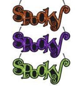 "14.25""L ""Spooky"" Word Sign 3 Asst Colors"