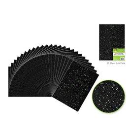 "Felt Squares: 9""x12"" Glitter Bar-Coded Sheets - Black"