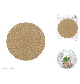 22cm Burlap Circles x2 - Natural