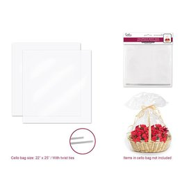"Basket Accessories: 22""x25"" Clear Basket Cello Bags 2pk w/Twist Ties"