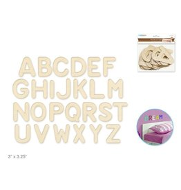 """Wood Letters: 3""""-3.25"""" Laser Cut 2mm Plywood 3-Ply x26 - Rounded"""