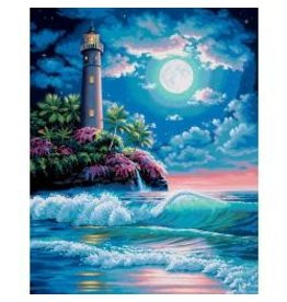 "Paint Works Paint By Number Kit 16""X20"" Lighthouse In The Moonlight"