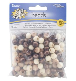 Round Wood Beads 10mm 140/Pkg Earth Tones