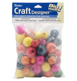 Large Wood Beads Assorted 45/Pkg Fashion