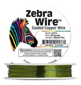 Zebra Wire™, color-coated copper, lime green, round, 22 gauge. Sold per 15-yard spool