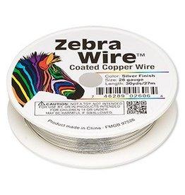 Zebra Wire™, copper, silver color, round, 26 gauge. Sold per 30-yard spool