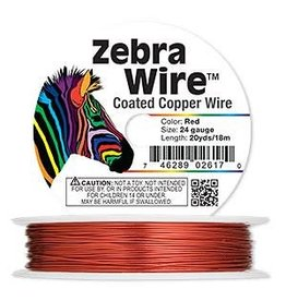 Zebra Wire™, color-coated copper, red, round, 24 gauge. Sold per 20-yard spool.