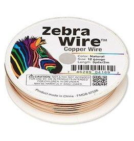 Zebra Wire™, natural copper, round, 12 gauge. Sold per 3-yard spool.