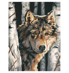 "Paint Works Paint By Number Kit 9""X12"" Wolf Among Birches"