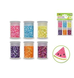 30G Glitter Vials 6X5G Asst W/Cap - Neon Jewel Asst