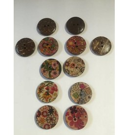 Kathy's Fiber Arts & Crafts Ltd Button 25mm Button 25mm Coconut Prints (Random)