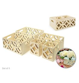 MultiCraft Wood Box Caddy Set - Circles
