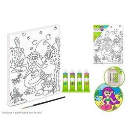 "Krafty Kids Kit: 7.13""x9.5"" DIY Artist Canvas w/4 Paints+Brush -Mermaid"
