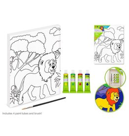 "Krafty Kids Kit: 7.13""x9.5"" DIY Artist Canvas w/4 Paints+Brush - Lion"