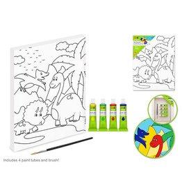 """Krafty Kids Kit: 7.13""""x9.5"""" DIY Artist Canvas w/4 Paints+Brush - Dinosaur"""