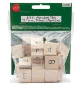 "Wood Alphabet Tiles .75"" 60/Pkg Uppercase"