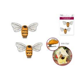 "1.87""x0.88"" Mini Bumble Bees x2 w/Clip -Golden"