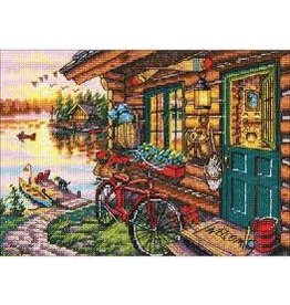"""Dimensions Gold Counted Cross Stitch Kit 7""""X5"""" Cabin View"""
