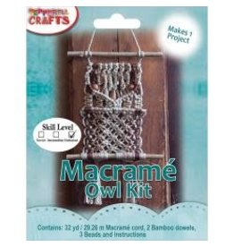 Mini Macrame Natural Owl Kit