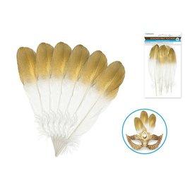 Multi Craft Designer Print Feathers - White w/Gold Tips