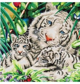 """Diamond Dots Diamond Embroidery Facet Art Kit 20.5"""" X 20.5"""" White Tiger and Cubs"""