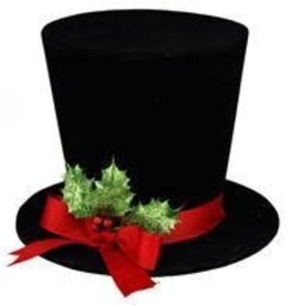 "8.25""DIA X 6""H Velvet Top Hat W/Holly"