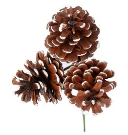 Frosted Triple Pine Cone Pick