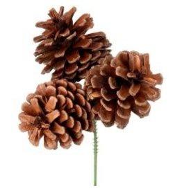 Lacquered Triple Pine Cone Pick
