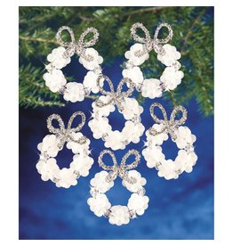"""Holiday Beaded Ornament Kit Frosted Wreath 2.25"""" Makes 16"""
