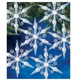 Holiday Beaded Ornament Kit Light Sapphire Snowflake Makes 6