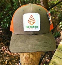 Fire Mountain Snapback Ball Cap Hunter Green & Orange