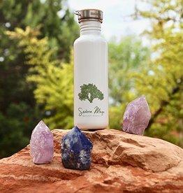 Logo Water Bottle WHITE w/ Juniper Tree 27 oz.