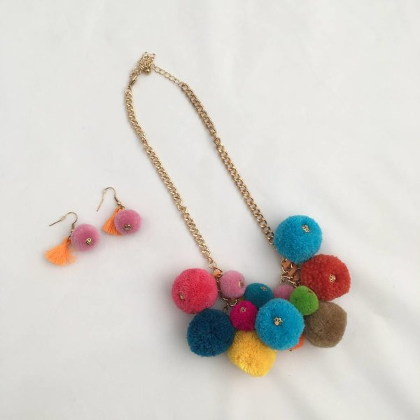 Pom Pom Necklace and Earring Set