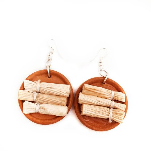 Ceramic Platter Earring- Tamale