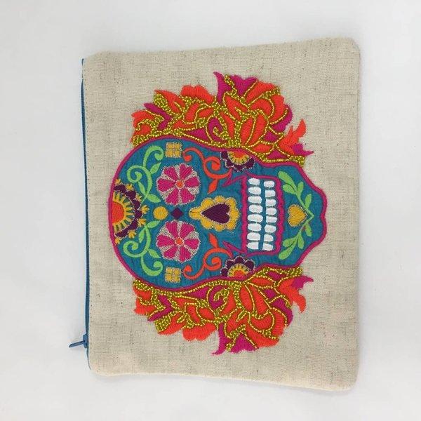 Sugar Skull Embroired Make-up Bag