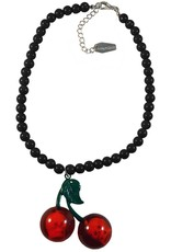 Cherry Skull Necklace - Black