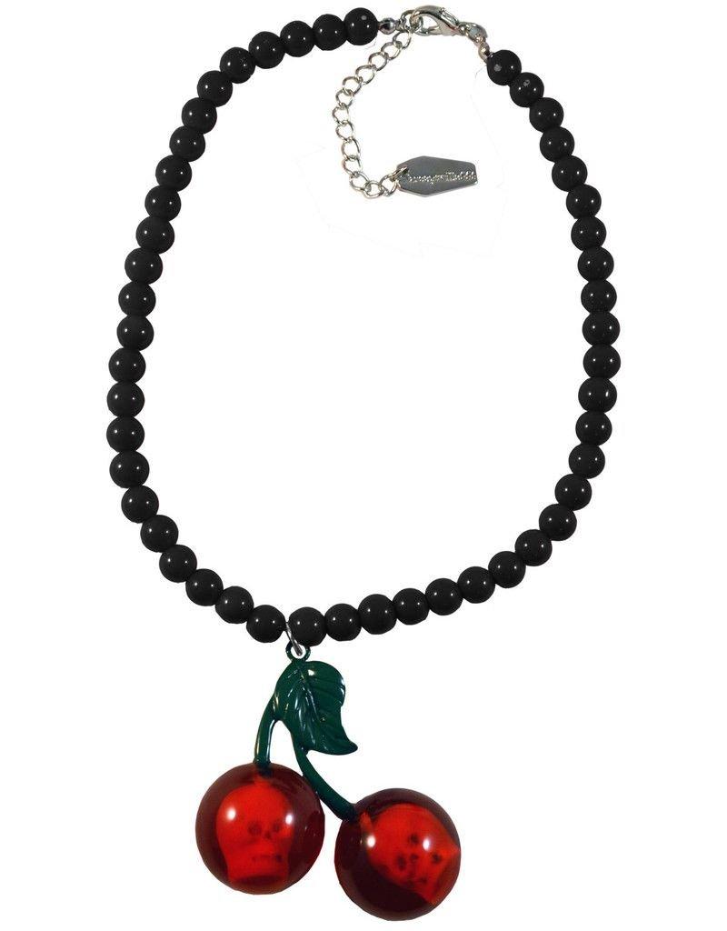 Cherry Skull Necklace - Black