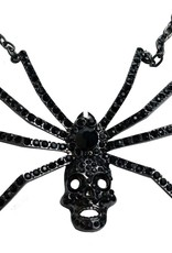Dia Spider Skull Necklace - Black