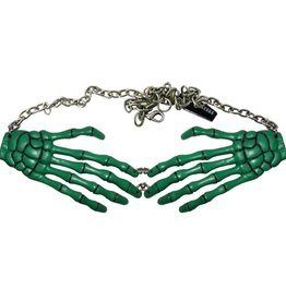 Skeleton Bone Hand Necklace - Green