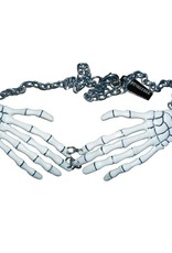 Skeleton Bone Hand Necklace - White