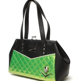 Elvira Femme Fatale Kiss Lock Black & Lime Sparkle Purse LTD Edition