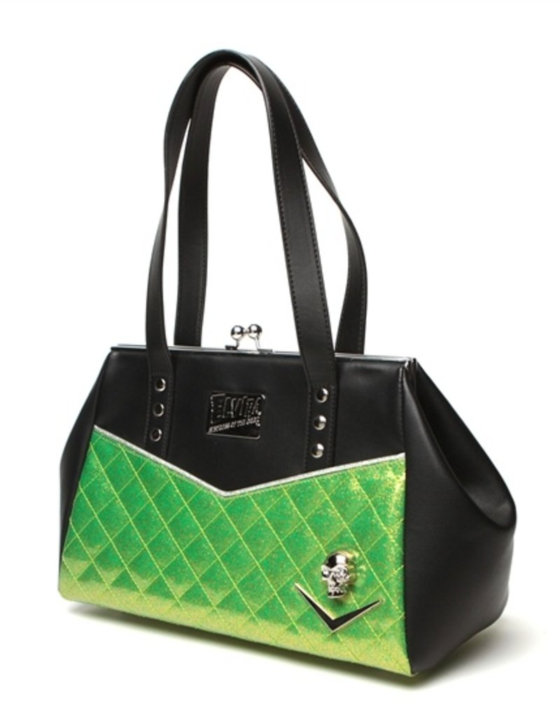 Elvira Femme Fatale Kiss Lock Black & Lime Sparkle Purse LTD Edition