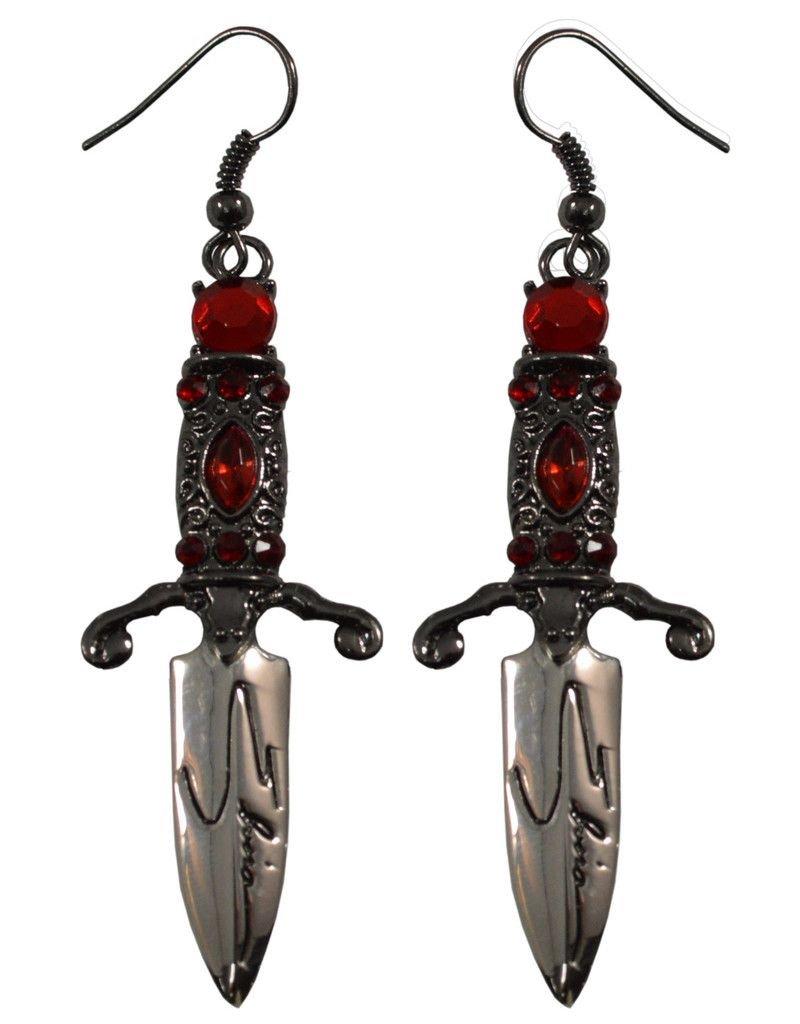 Elvira Dagger Earrings - Red *DS