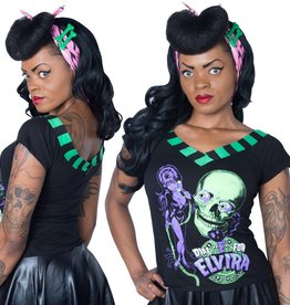 Dial E for Elvira V-Neck Shoulder Tee