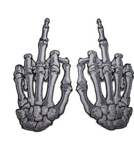 Skelli Hand Finger Bone Patch Pair - White